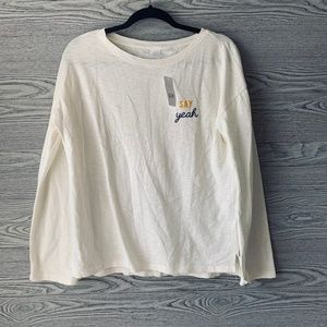 GAP Off-White 'Say Yeah' w/ Wide Long Sleeve Top
